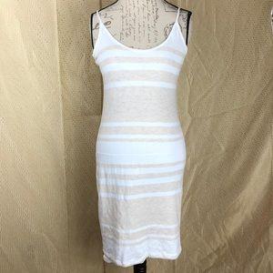 6fad030e3e29 ... James Perse Summer Striped Beige White Dress Sz-2 ...